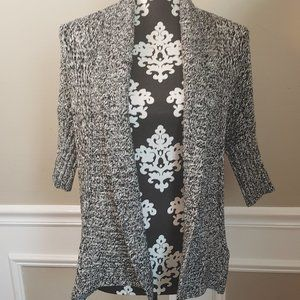 EXPRESS CARDIGAN WHITE WITH BLACK XS 3/4 SLEEVE